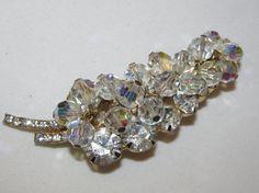Vintage JULIANA D&E Crystal Beads Rhinestone Dangle Brooch Book Piece