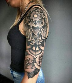 half sleeve tattoo designs and meanings Tattoos For Women Half Sleeve, Half Sleeve Tattoos Designs, Upper Arm Tattoos, Arm Sleeve Tattoos, Full Sleeve Tattoos, Half Sleeve Tattoo Upper Arm, Shoulder Tattoos, Geometric Sleeve Tattoo, Geometric Tattoo Design