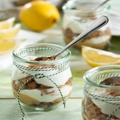 Quark trifle with lemon curd - Food and Drinks Ideas Chutneys, Dinner For One, Trifle, Delicious Desserts, Panna Cotta, Mason Jars, Sweets, Tableware, Ethnic Recipes