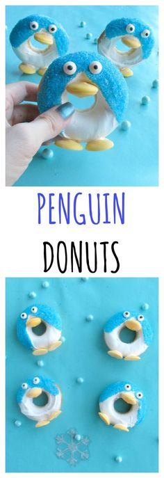 Penguin donuts are a cute winter treat for parties or breakfast Christmas morning. These penguin donuts can even stand up! Christmas Food Gifts, Christmas Candy, Christmas Cookies, Christmas Crafts, Christmas Sweets, Christmas Breakfast, Christmas Morning, Star Wars Party Games, Penguin Party
