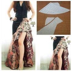 An uniqe skirt Diy Clothing, Clothing Patterns, Dress Patterns, Sewing Patterns, Fashion Sewing, Diy Fashion, Womens Fashion, Batik Dress, Blouse Dress