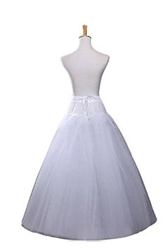 Ellames Women's Hoopless A Line Bridal Petticoat 4 Layers Wedding Crineoline Slip * Continue to the product at the image link.