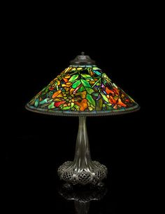 Tiffany Studios Favrile glass and patinated-bronze Trumpet Creeper table lamp circa 1910