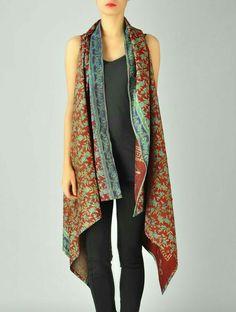 Buy Red Green Rusty Upcycled Silk Saree Kantha Shrug (Free S Saris, Silk Sarees, Diy Clothing, Sewing Clothes, Indian Fashion, Boho Fashion, Fashion Design, Womens Fashion, Shrug For Dresses