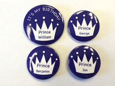 Personalised Birthday Party Badge Sets - Crowns – London Emblem 50th Birthday Party, Crowns, Badges, Special Occasion, Decorative Plates, London, Badge, Crown, London England
