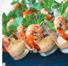 Grilled Shrimp Hors d'oeuvres. If I could get away with all seafood at my wedding, I would love it.