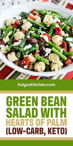 Green Bean Salad with Hearts of Palm also has olives, red pepper, and Feta, and this is a great summer salad for people who like green beans. [found on KalynsKitchen.com] #KalynsKitchen #GreenBeanSalad #GreenBeanOliveSalad Healthy Salad Recipes, Vegetable Recipes, Keto Recipes, Dinner Recipes, Diabetic Recipes, Cooking Recipes, Green Bean Salads, Green Beans, Low Carb Chicken Salad