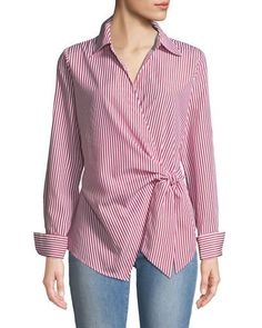 Women's Designer Tops at Neiman Marcus Last Call, Neiman Marcus Faux-Wrap Long-Sleeve Striped Blouse. Blouse Styles, Blouse Designs, Neiman Marcus, Hijab Fashion, Fashion Dresses, Moda Chic, Designing Women, Blouses For Women, Women's Blouses