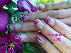 Ashley Ashes pink glitter acrylic nails with dyed egg shells as cheetah prints . CLICK PHOTO to watch a short video of these nails , then sub !