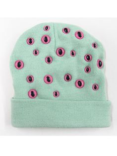 ribbontough: Mint and Pink Eye Beanie $40.45