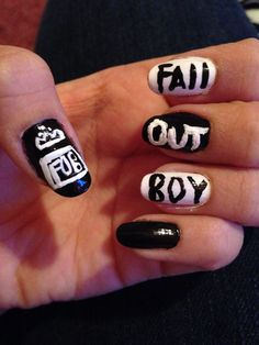 Fall Out Boy are awesome! These are really good nails. Easy Nail Polish Designs, Nail Polish Art, Nail Designs Spring, Nail Art Designs, Nails Design, Emo Nail Art, Cute Nails, My Nails, Band Nails