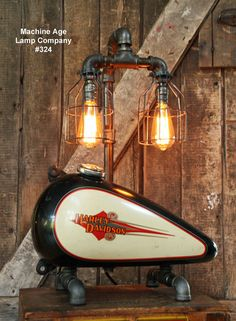 Steampunk Industrial Lamp, Vintage Harley Davidson Motorcycle Gas Tank #324…