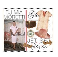 """""""Jet Set Style With DJ Mia Moretti & The RealReal: Contest Entry"""" by fashionscherry ❤ liked on Polyvore featuring Rochas, Eugenia Kim, Giuseppe Zanotti, Chanel and Louis Vuitton"""
