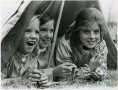 Caroline camps out with her Kennedy cousins, Kerry and Courtney.