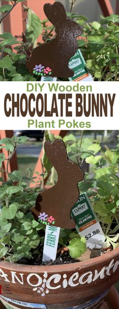 DIY Wooden Chocolate Bunny Plant Pokes - a simple DIY project for adding a little Easter fun to your plants and garden.