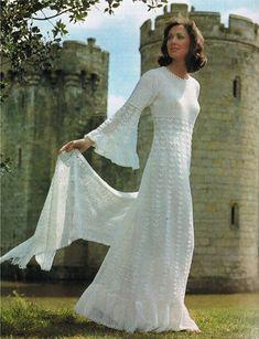 Beautiful crochet lace wedding dress & stole