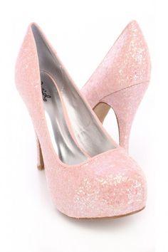 Pink Closed Toe Pump Heels Glitter
