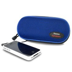 Sporty Nylon Portable Stereo Speakers (Blue) Don't become tethered to headphones with the Sporty Nylon Portable Stereo Speakers. With these speakers, you can plug in your audio device and share your music with friends. It features a hard, durable case that's ideal for taking with you wherever you go and includes a convenient shoulder strap and carabiner clip for easy portability. Inside is a built-in 3.5mm audio cable that works with most entertainment devices. Simply plug in your device and…