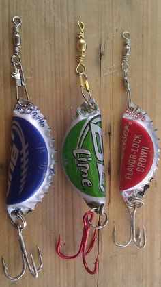 Hand made bottle cap fishing lure. Rattles like the store bought lures.please specify the brand of cap you want when ordering. Multiple lure discounts available. I have thousands of caps . Gone Fishing, Fishing Tips, Fishing Knots, Kayak Fishing, Trout Fishing, Fishing Tackle, Fishing Stuff, Homemade Fishing Lures, Fishing Crafts