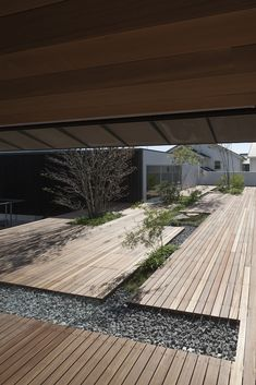 I think this kind of large-scale decking mixed with earth/gravel/planting is fantastic.