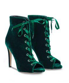 SANTE stiletto peeptoe ankle boot in hot festive velvet. Festive, Essentials, Velvet, Ankle, Heels, Boots, Green, Fashion, Heel