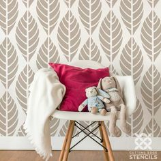 This modern leaf wall pattern brings the tranquility of nature right into your home.     Leaves Allover Stencil from Cutting Edge Stencils: http://www.cuttingedgestencils.com/leaves-stencil-pattern-leaf-stencil-wallpaper.html