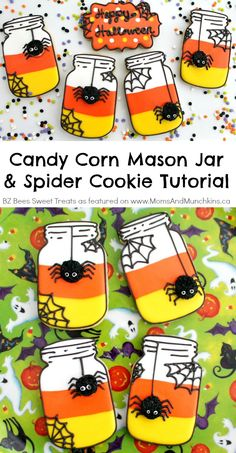 Candy Corn Mason Jar Cookies with Spiders! A fun Halloween cookie decorating tutorial perfect for a party.