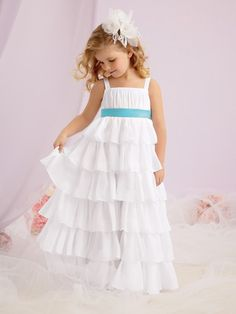 Sweet Beginnings Style #L124 - shown in White with a Pool waistband, available in any color combination.  Available in sizes 1-14 & 5+ - 9+    There's a reason why Sweet Beginnings is such an award-winning line of flower girl dresses: they make even the littlest member of the bridal party look lovely! Each flower girl dress is made with care and many are available in over 65 colors so that your little angel can fit your wedding to perfection.