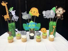 Centerpiece set includes 6 animals and 3 leaf accent pieces. Name banner Happy Birthday banner Cupcake Toppers Birthday banner Safari Theme Birthday, Jungle Theme Parties, Safari Birthday Party, Baby Boy 1st Birthday, Kids Party Themes, Jungle Party, Jungle Safari, Lion King Baby Shower, Baby Boy Shower