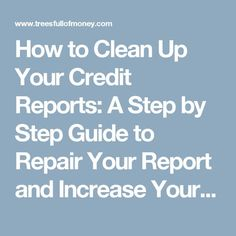How to Clean Up Your Credit Reports: A Step by Step Guide to Repair Your Report and Increase Your Credit Scores. – Trees Full of Money