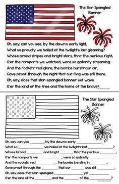 The Star Spangled Banner... Teach your students the words with this FREE download from Light Bulbs and Laughter.  Includes a color poster and a coloring page/cloze activity to fill in the blanks while you listen.