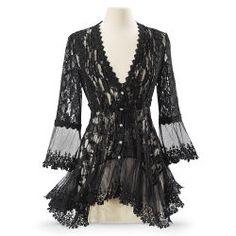 Black Lace Peplum Jacket