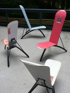 snowboard chairs - I think this is a great way of using up old snowboards to create cool looking chairs. As a snowboarder myself i would love to have one of these in my house or garden!                                                                                                                                                                                 Plus