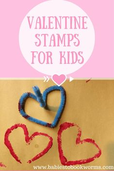 Celebrate Valentine's Day with these easy to create pipe cleaner heart stamps! #ValentinesDayCrafts #EasyHeartCraft