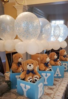 Baby Shower Decorations For Boys, Boy Baby Shower Themes, Baby Shower Balloons, Baby Boy Shower, Baby Shower Centerpieces Boy, Teddy Bear Centerpieces, Baby Shower Garcon, Decoracion Baby Shower Niña, Lila Baby
