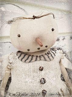 Primitive Snowman Doll Girl Dirty Snow Angel Fabric Organic Cotton Handmade veenas mercantile Christmas Winter White