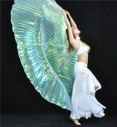 Amazon.com: Big sale 2014 Exotic Unique charming White colorful Yarn Belly Dance big Isis Wings handmade Performance/dance Props,Christmas w...