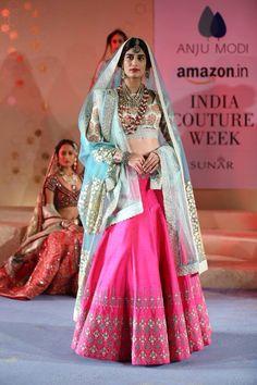 Anju Modi Kashish Collection Bright Pink Embellished #Lehenga With Mint Printed #Blouse At Amazon India Couture Week 2015.