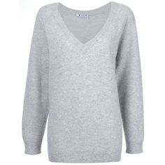 T By Alexander Wang oversized V-neck jumper (24.550 RUB) ❤ liked on Polyvore featuring tops, sweaters, grey, oversized grey sweater, v neck sweater, gray sweater, long gray sweater and v-neck sweater