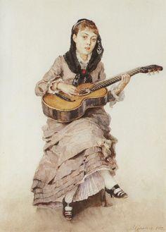 Vasily Surikov- (Krasnoyarsk, Russia 1848- 1916 )- Muchacha con la guitarra.