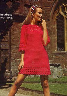 1960s Lace Crochet Tunic Dress great beginner dress  by eStitches,. #inspiration_crochet_diy GB ...