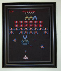 Galaga game screen cross stitch PATTERN by DemonMonkeyCraft