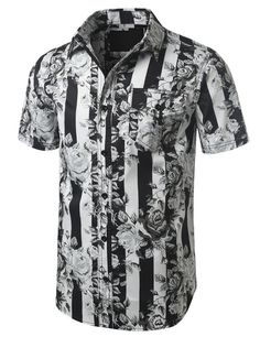 Stripes And Roses Short Sleeve Button Down Shirt - Doublju #doubleju #mensfashion #menswear