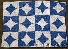 "Indigo Blue & White ANTIQUE c1880s Doll or Table QUILT 22"" x 16 1/2"""