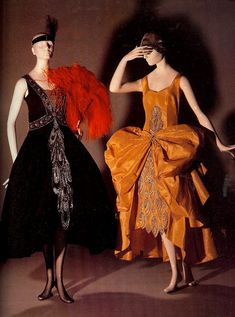 Old Fashioned Clothes : Left: Evening Dress Jeanne Lanvin. Right: Evening Dress Eld. 20s Fashion, French Fashion, Art Deco Fashion, Fashion History, Vintage Fashion, Fashion Outfits, Fashion Design, Edwardian Fashion, Gothic Fashion