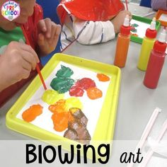Blowing art for fun fall art~ Tons of fall themed activities.blowing art is my favorite for my preschooler and pre-k friends! Oral Motor Activities, Art Activities, Classroom Activities, Classroom Ideas, Activity Ideas, Fall Preschool, Preschool Themes, Preschool Activities, Preschool Learning