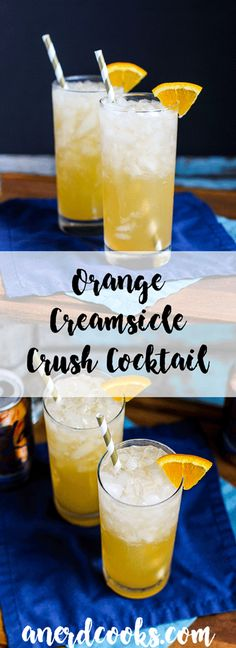 Orange Creamsicle Crush Cocktails - A Nerd Cooks Orange Creamsicle Crush Cocktail Crush Drink Recipe, Orange Crush Recipe, Slushie Recipe, Orange Creamsicle, Creamsicle Drink, Refreshing Cocktails, Cocktail Drinks, Cocktail Recipes, Fruit Drinks