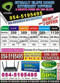 ETISALAT ELIFE HOME INTERNET Etisalat_Internet_Offers For Home&office ⚙️ **Free installation (selected areas)** 💸 Months rental free(selected areas)** Free Router, TV Receiver,Landline set&unlimited National Calls, 📞 **Only by Call or Whatsapp** Internet Offers, Internet News, Home Internet, Internet Packages, Office Free, Sports Channel, Wifi Router, Tv Channels, Sharjah