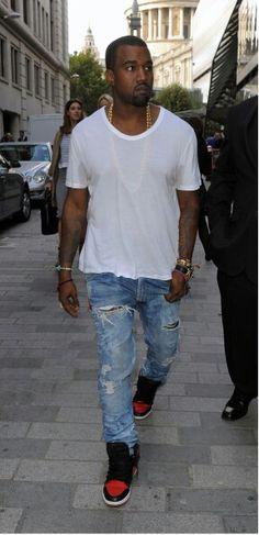 Kanye West in Levi's jeans # men's fashion #denim pant # acid wash # ripped wash #