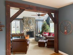 Beams and Mantels — E. Braun Farm Tables and Furniture, Inc. Archways In Homes, Archway Decor, Diy Cabin, Living Room Remodel, Cozy Living Rooms, Home Decor Inspiration, Home Interior Design, Farm Tables, Beams